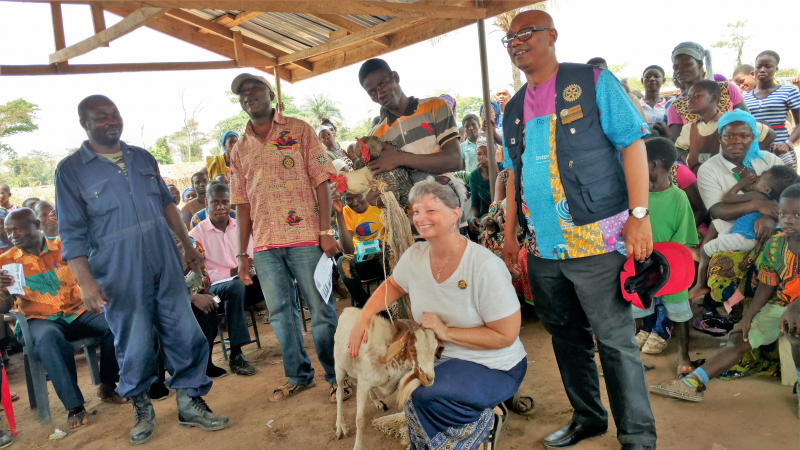 Shel and the team were gifted with goats and other measures of wealth while on the project.