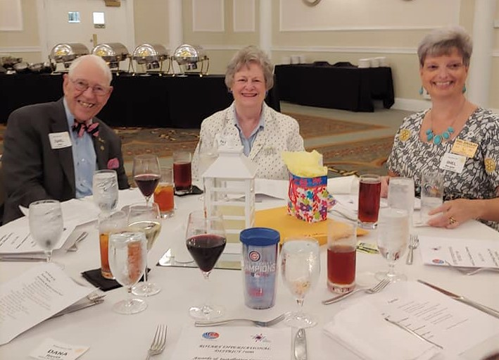 Past District Governor Earl Hale and Charter President Pat Hale with Assistant District Governor Shel Douglas.